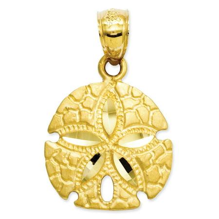 14k Yellow Gold Sand Dollar Pendant Charm