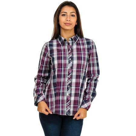 Womens juniors purple cotton plaid pattern button down for Women s plaid button down shirts