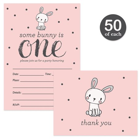 Girl Baby First Birthday Invitations & Matching Thank You Notes Set ( 50 of Each ) with Envelopes Baby Daughter 1st One Year Old B