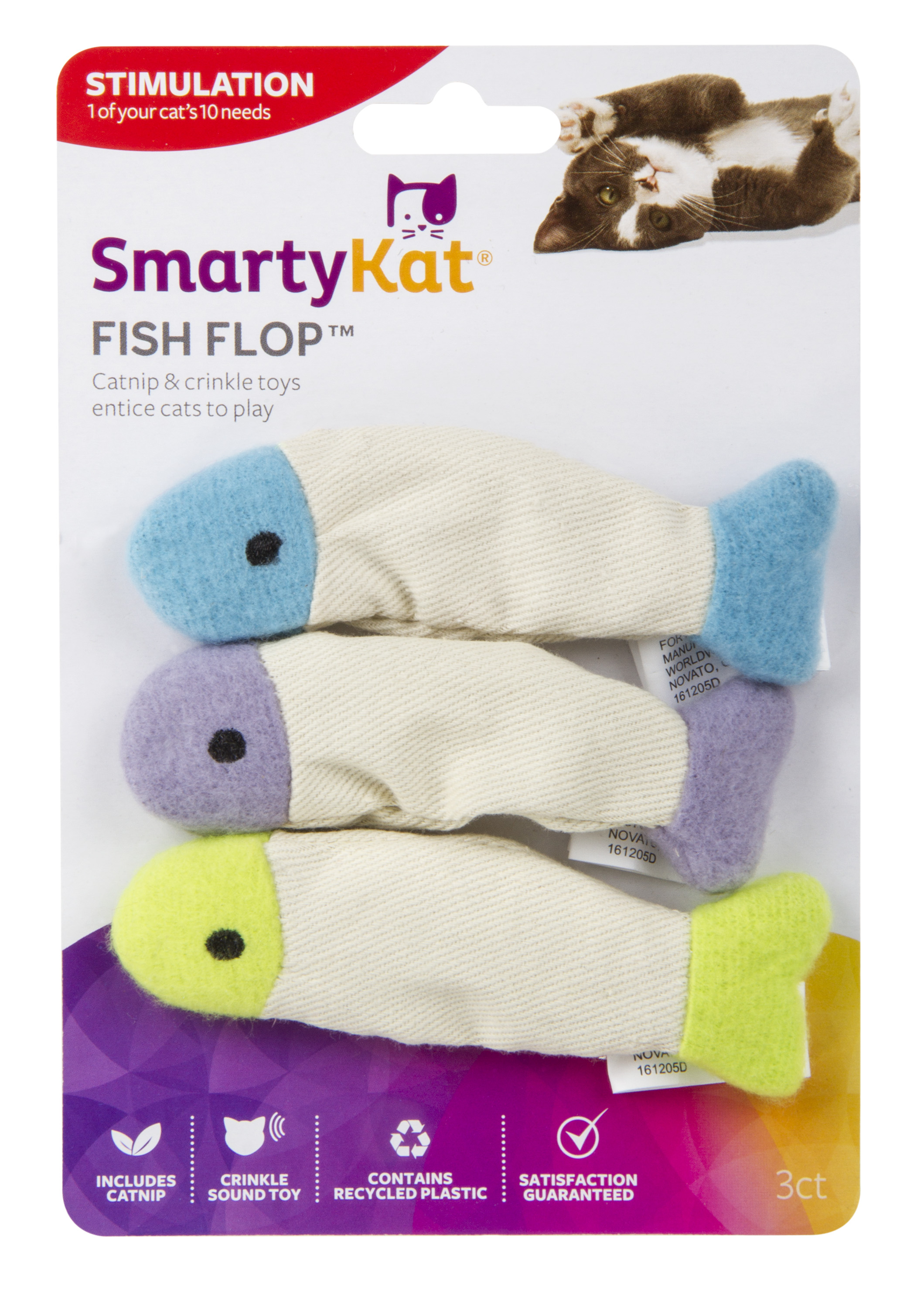 SmartyKat Fish Flop Crinkle Catnip Cat Toy, 3 Count by Worldwise