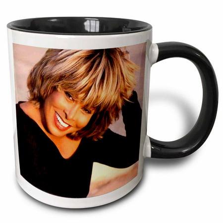 3dRose Tina Turner - Two Tone Black Mug, 11-ounce (Tina Turner Halloween)