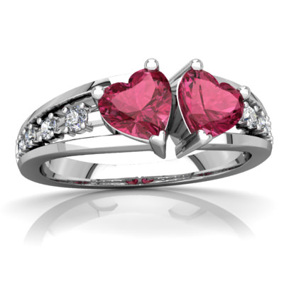 Pink Tourmaline Heart to Heart Ring in 14K White Gold by
