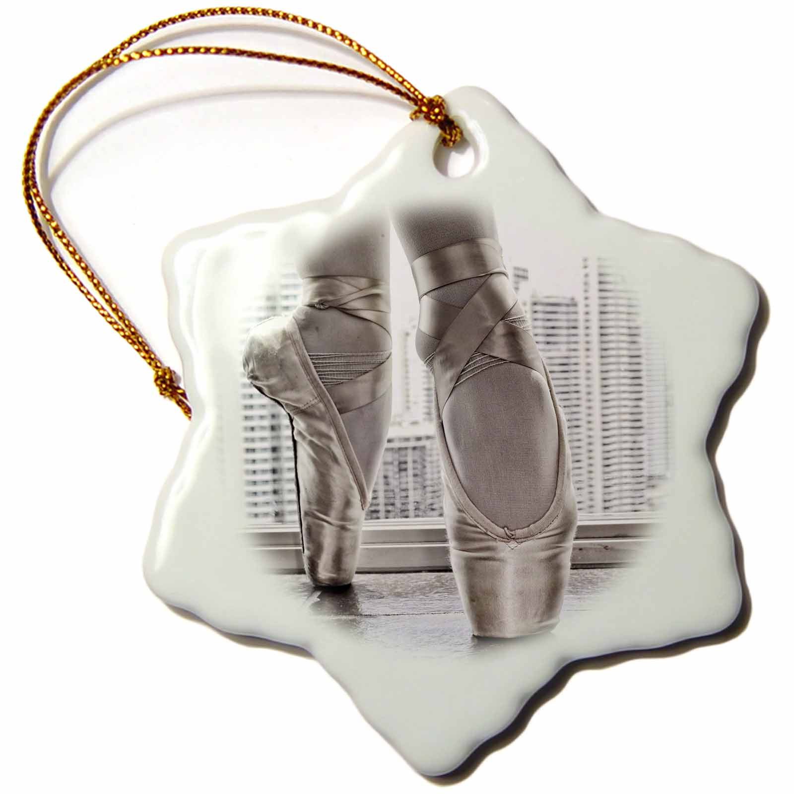 3dRose Ballerina in pointe shoes with buildings behind, Snowflake Ornament, Porcelain, 3-inch