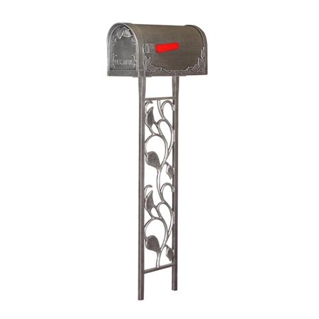 Special Lite SCF-1003-450-SW Floral Curbside with Floral Mailbox Post, Swedish Silver Swedish Post Box