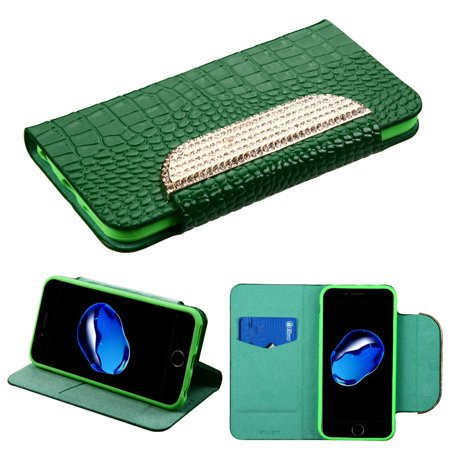 MyBat Book-Style Leather Wallet Crocodile Skin Case w/stand/card holder/Diamond For Apple iPhone 8 / iPhone 7 - Green