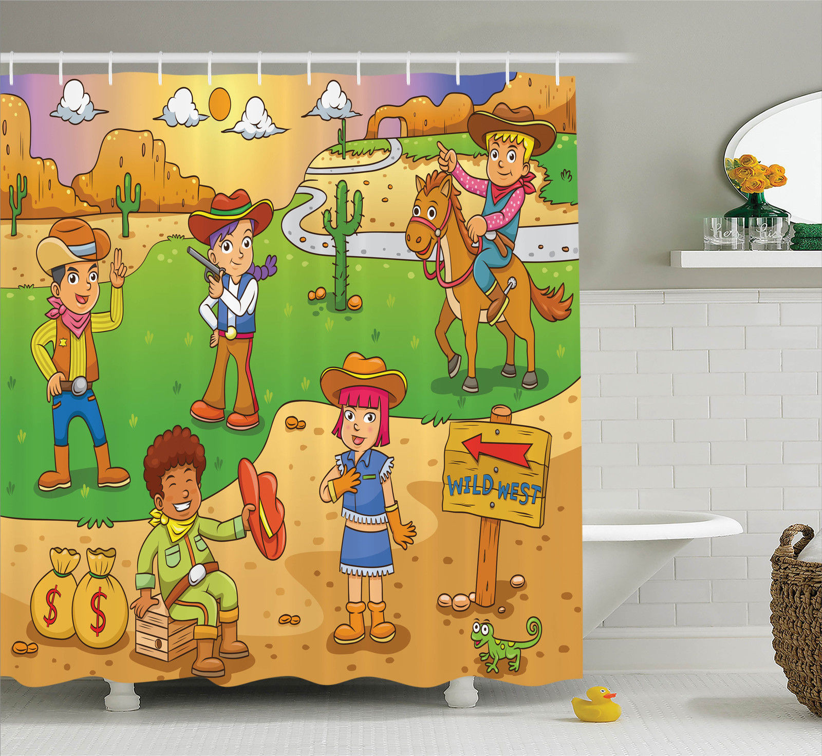 Cartoon Decor Shower Curtain Set, Illustration Of Child Cowboy Cute Wild West Cartoon North America Culture Kids Decor, Bathroom Accessories, 69W X 70L Inches, By Ambesonne