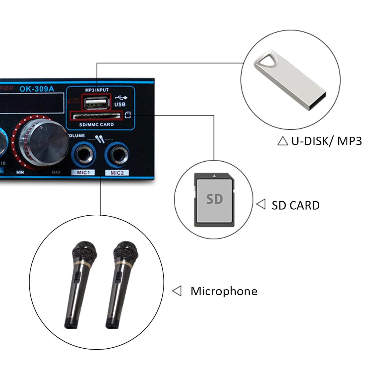 800W HiFi Verstärker bluetooth Stereo Vollverstärker Audio Endstufe FM BT-309A