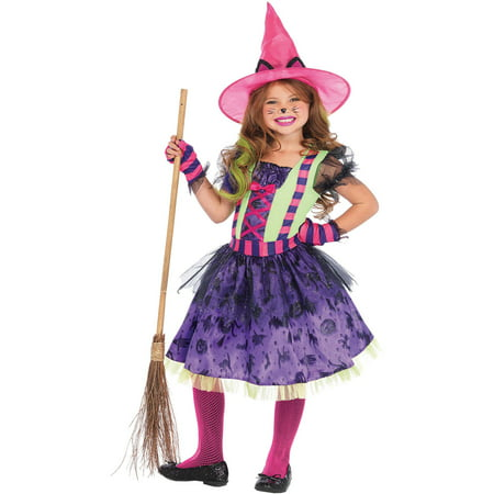 3PC. Children's Black Cat Witch Costume Dress with Tail, Gloves, - Cat In The Hat Costume Women