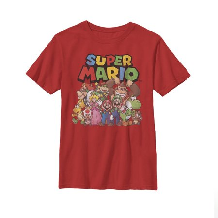 nintendo little boys super mario character group shot graphic t-shirt, red, ys ()