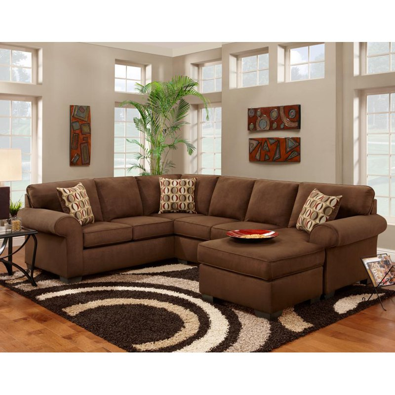 Chelsea Home Adams 2 Piece Sectional with Full Sleeper - Patriot Chocolate