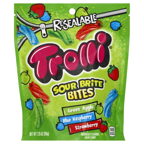 (4 Pack) Trolli, Sour Brite Bites Gummy Candy, 7.25oz