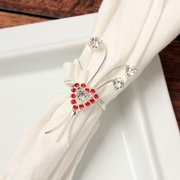 Detti Originals  Red/ Crystal Heart Napkin Rings (Set of 4)