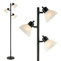 Decor Works 3 Light Floor Lamp with Adjustable Reading Lights (Black)