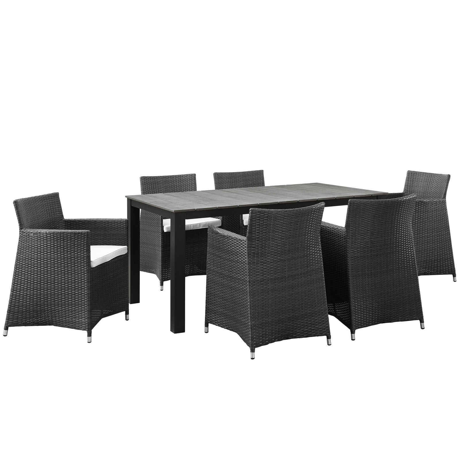 Modern Urban Contemporary 7 pcs Outdoor Patio Dining Room Set, Brown White Plastic by America Luxury