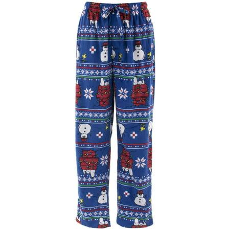 Peanuts Men's Snoopy Christmas Blue Sueded Fleece Pajama Pants