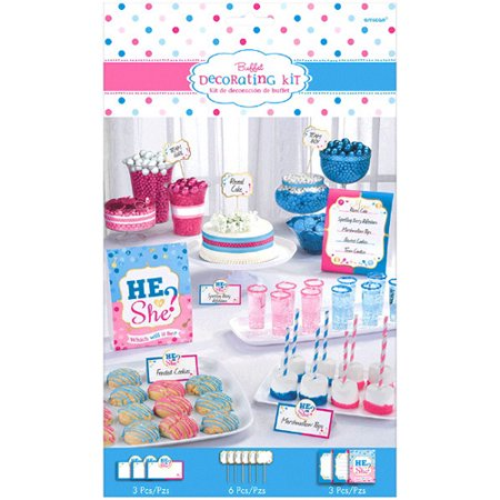 Baby Shower Gender Reveal 'Girl or Boy' Buffet Decorating Kit (12pc) - Baby Gender Reveal Party Supplies