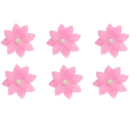 Pack Of 6 Pink Floating Lotus Paper Flower Outdoor Patio Decor