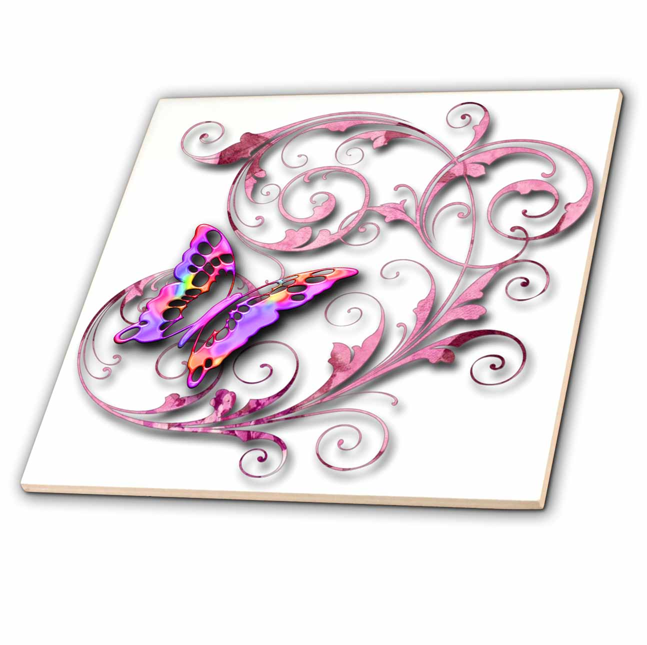 3dRose Golden accented vines and pretty multi colored butterfly - Ceramic Tile, 6-inch