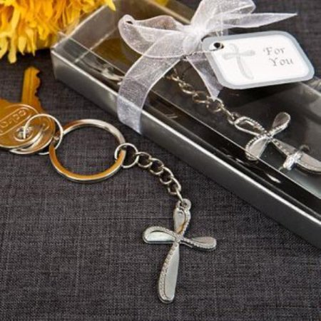 Metal cross key chain with beaded design  pack of 84 - Cross Key Chains