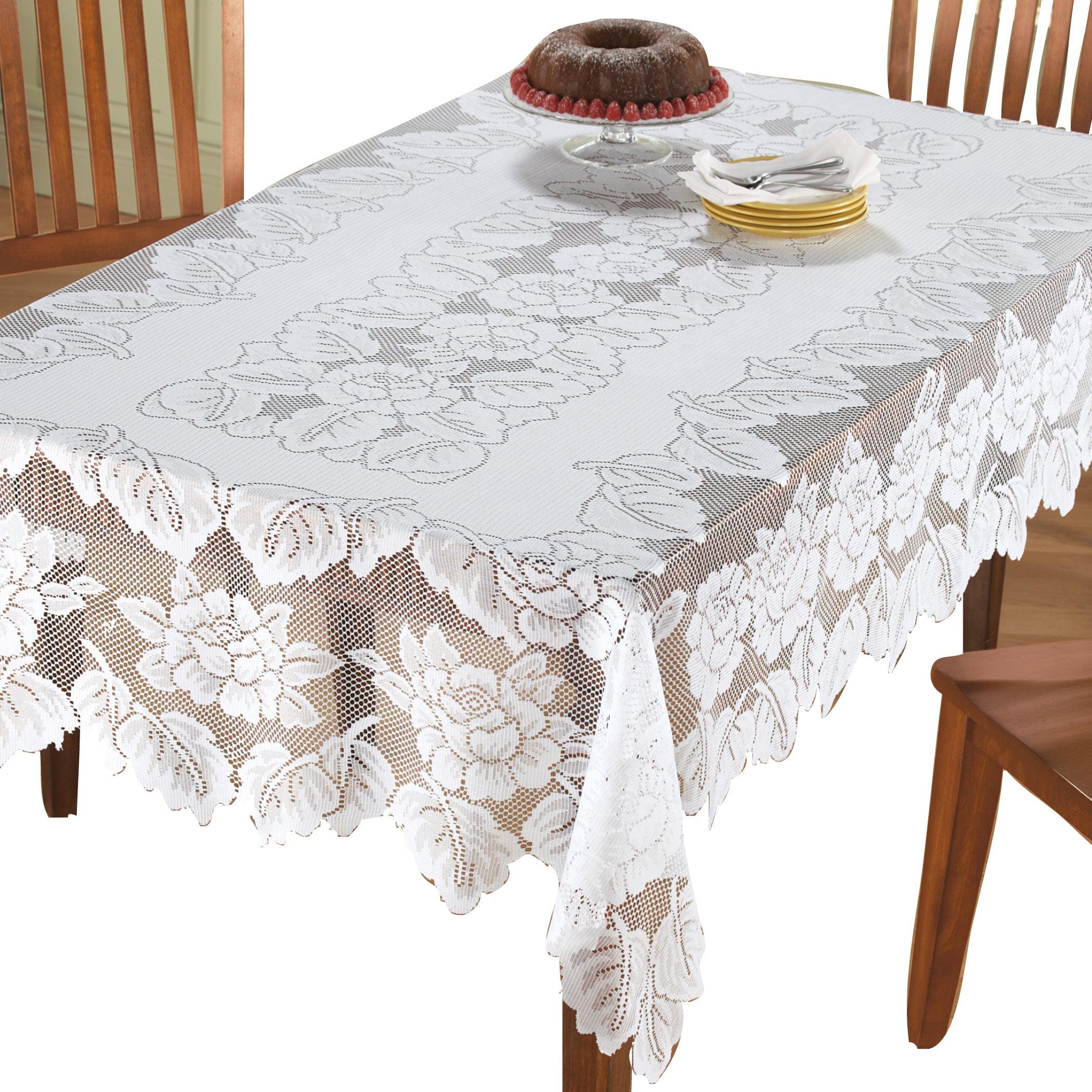 Collections Etc White Floral Lace Tablecloth 54 X 72 Walmart Com Walmart Com