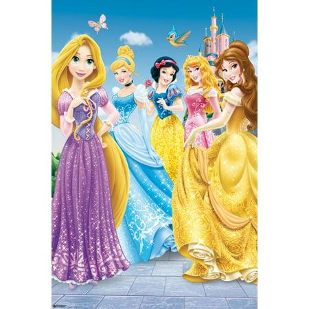 Disney Princesses - Disney Movie Poster / Print (5 Princesses & The Disney Castle) (Size: 24