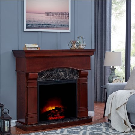 Bold Flame 47 inch Electric Fireplace Heater in Walnut