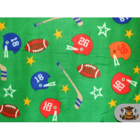 Football Yard (Fleece Printed ^ FOOTBALL HOCKEY GREEN ^ Fabric / 58