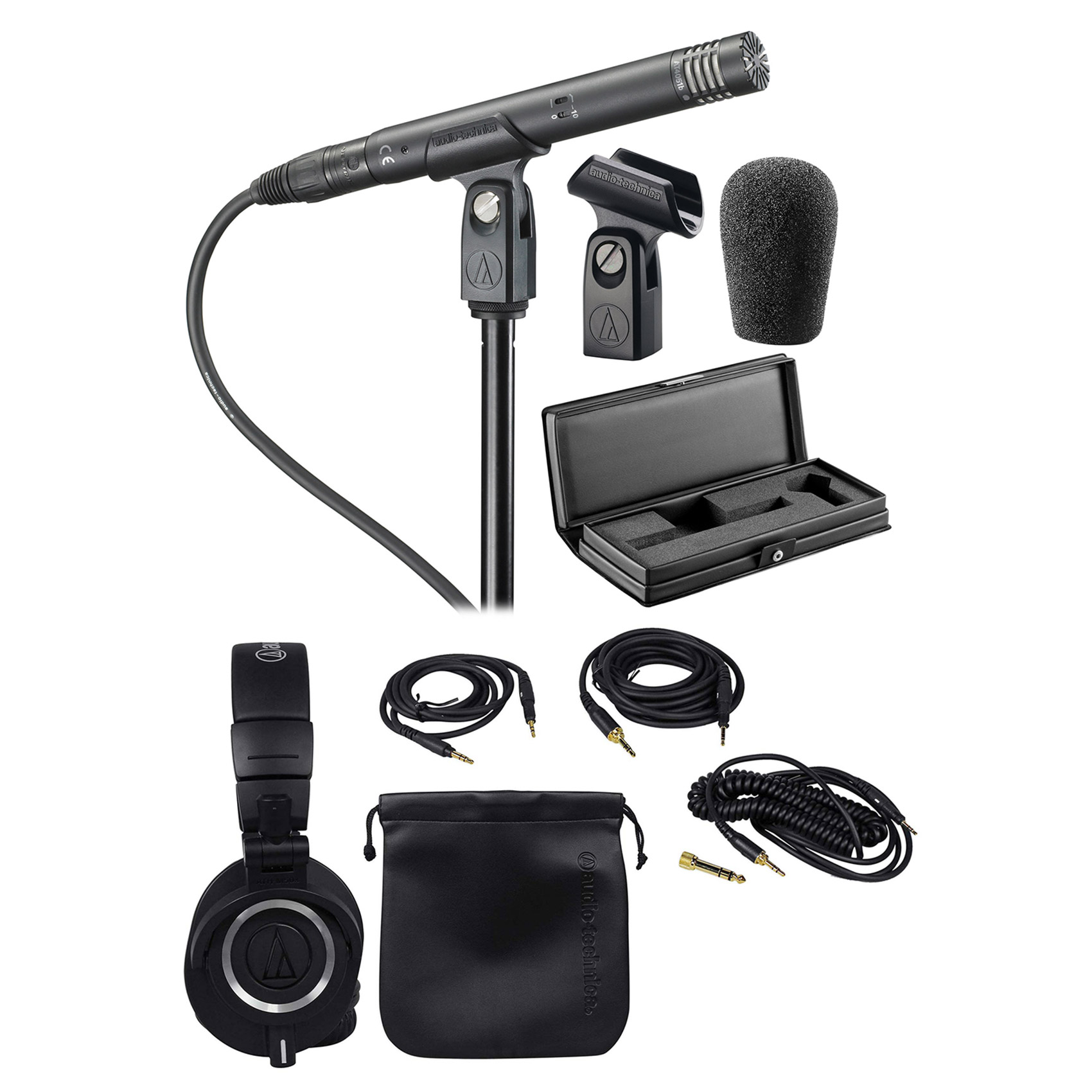 Audio Technica AT4051B Condenser Microphone w Shockmount + Mic Case + Headphones by Audio-Technica