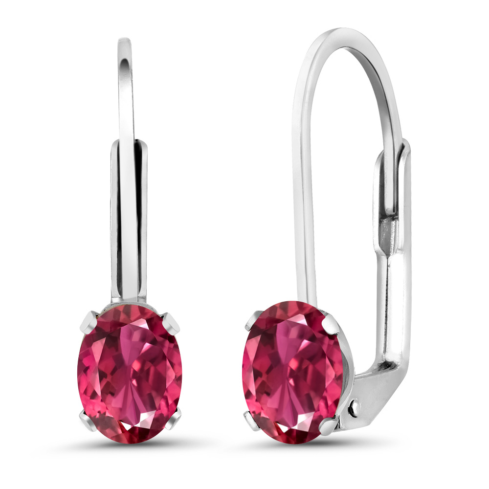 1.00 Ct Oval Pink Tourmaline 925 Sterling Silver Earrings by