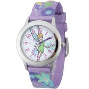 Tinker Bell Girls' Stainless Steel Case with Bezel Watch, Printed Fabric Strap