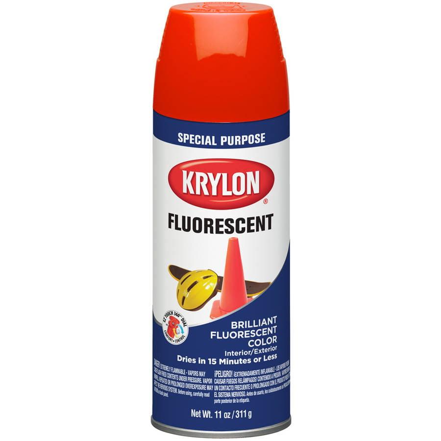 Krylon Fluorescent Paint, Flat, 12 oz, Red Orange 3101