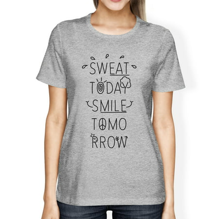 Sweat Smile Womens Grey Funny Design Gym Tee T-Shirt Cute Gym Gifts