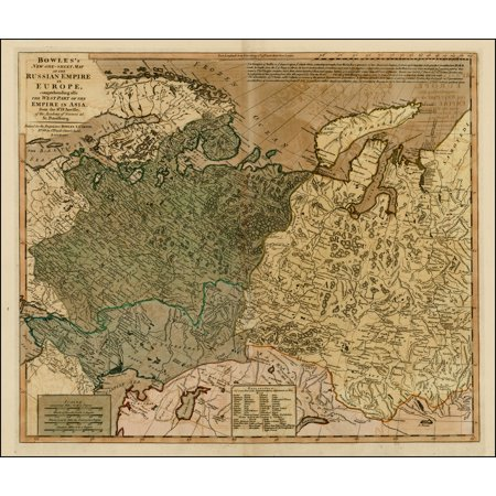 LAMINATED POSTER Bowles's New One-Sheet Map of the Russian Empire In Europe, comprehending also the Empire in Asia . . . POSTER PRINT 24 x (Map Of Europe And Asia With Capitals)