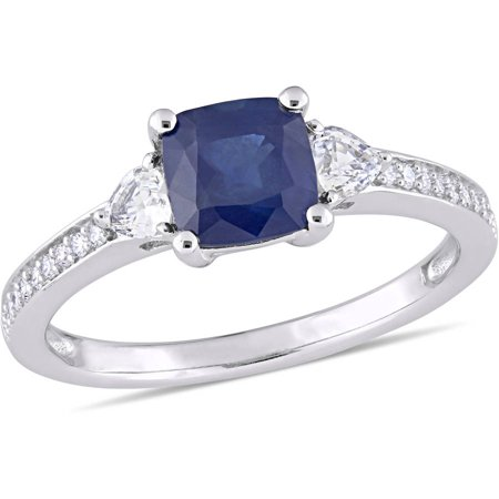 Tangelo 1-5/8 Carat T.G.W. Blue and White Sapphire, Heart-Cut White Sapphire and Diamond-Accent 14kt White Gold 3-Stone Engagement Ring