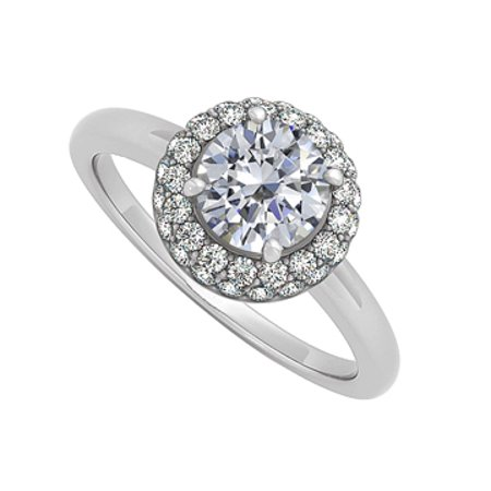 Cubic Zirconia Halo Engagement Ring 14K White GoldTwo Third of a Carat - image 1 de 2