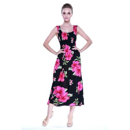 375773c49d99 Hawaii Hangover - Hawaiian Dress Luau Dress Maxi Long Tank Elastic Dress in  Black with Pink Hibiscus - Walmart.com