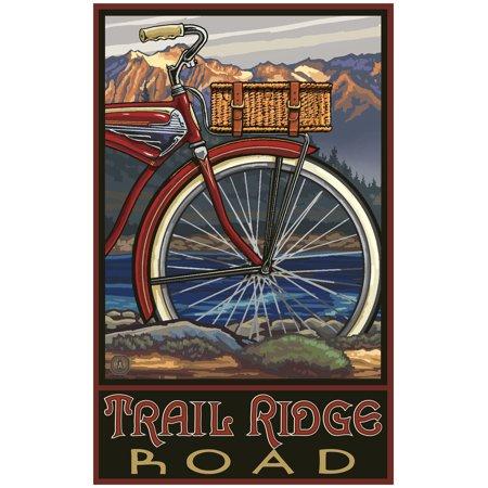 Trail Ridge Road Colorado Fat Tire Bike Travel Art Print Poster by Paul A. Lanquist (24