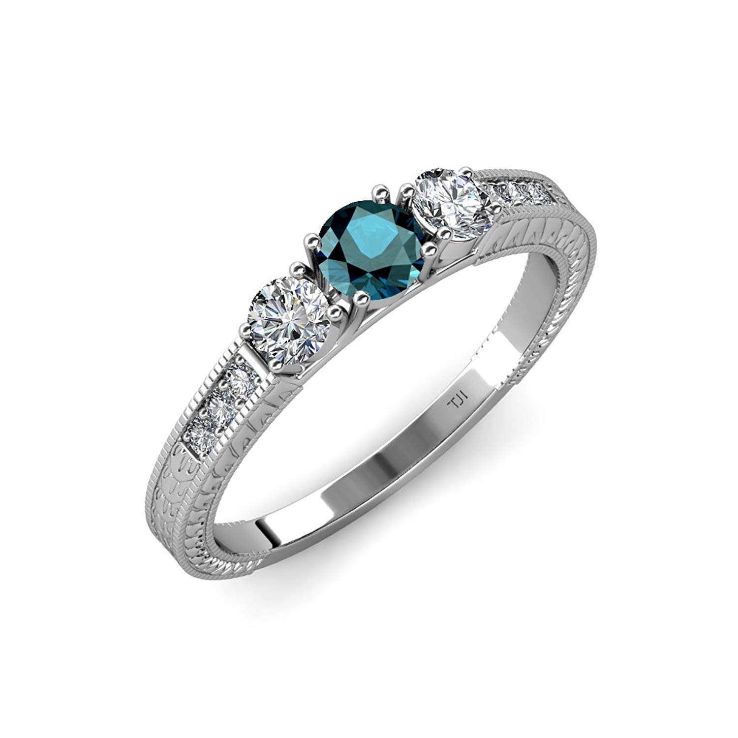Blue & White Diamond Milgrain 3 Stone Ring with Side White Diamond 0.85 ct tw in 14K White Gold.size 8.5 by TriJewels