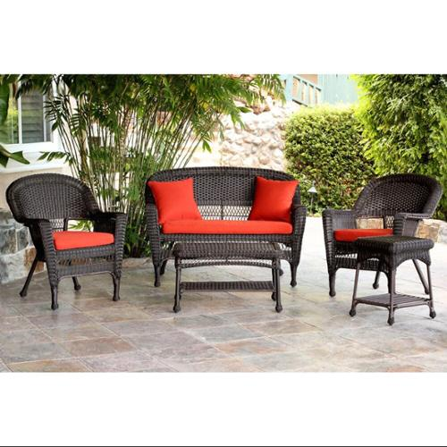 5-Piece Espresso Wicker Patio Chair, Loveseat & Table Furniture Set - Red Cushions