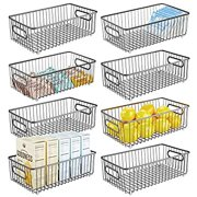 Metal Farmhouse Kitchen Pantry Food Storage Organizer Basket Bin - Wire Grid Design for Cabinets, Cupboards, Shelves, Countertops - Holds Potatoes, Onions, Fruit - Long, 8 Pack - Graphite Gray