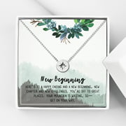 """Anavia Graduation Gift Box, 2020 Graduation Gift for Her, Compass Necklace Jewelry, Gift for Best Friend, Card Gift for Daughter, Cousin, Sister, Graduation Gifts [Silver Compass, 18"""" Chain]"""
