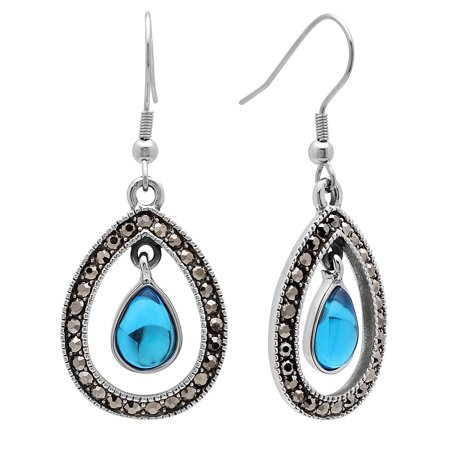 Women's Stainless Steel Blue and Gunmetal Glass Earrings](Glass Earrings)