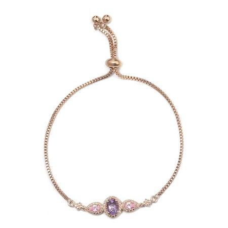 Amethyst Handmade Bracelets (Women's Girls 18K Rose Gold Amethyst Pink Cubic Zirconia CZ Bolo Tassel Bracelet )