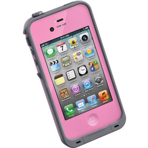 Treefrog LifeProof Case for iPhone 4, Pink/Gray