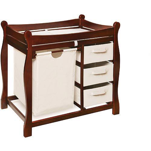 Badger Basket   Changing Table With Hamper And Baskets, Cherry