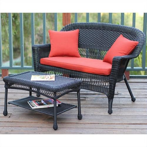 Jeco Wicker Patio Love Seat and Coffee Table Set in Black with Red Orange Cushion