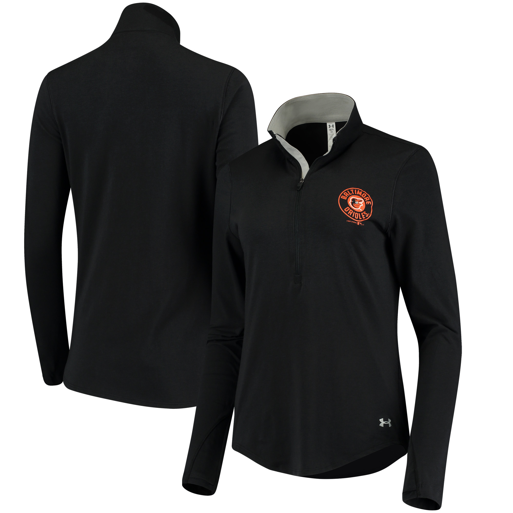 Baltimore Orioles Under Armour Women's Charged Cotton Half-Zip Pullover Jacket - Black