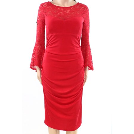 INC NEW Red Womens Size Small S Lace Illusion Ruched Sheath Dress
