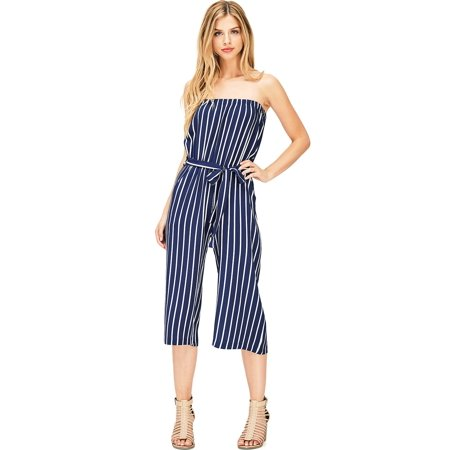 a40083fccddd Ambiance Apparel - Ambiance Apparel Women s Juniors Striped Wide Leg Tube  Top Jumpsuit (M