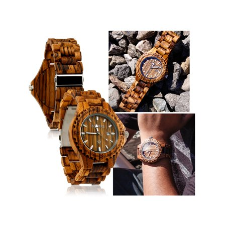 Fashion Zebrawood Wood Wrist BambooWatch Night Vision Quartz Men